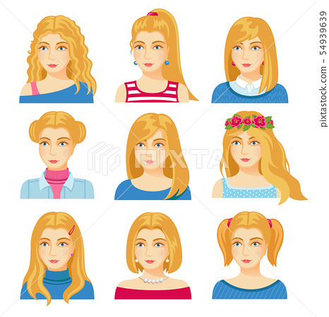 Set of woman faces with various hairstyle. 54939639