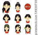 Cute little girls with black hair. 54939730