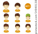 Cute brunet little boys with various hairstyles. 54940138