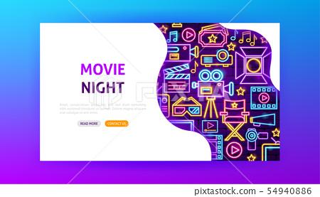 Movie Night Neon Landing Page 54940886