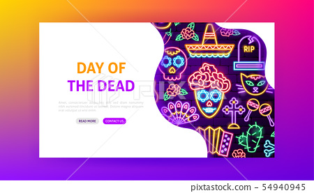Day of the Dead Neon Landing Page 54940945