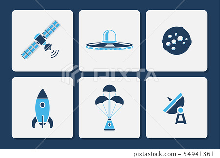 Isolated space icons in two color shape vector set 54941361