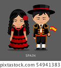 Spaniards in national dress with a flag. 54941383