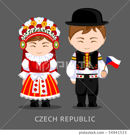 Czechs in national dress with a flag. 54941533