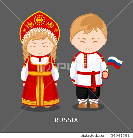 Russians in national dress with a flag. 54941591