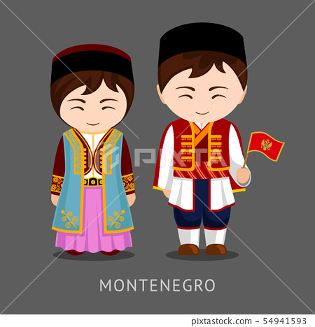Montenegrins in national dress with a flag. 54941593