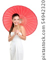 Chinese wedding woman with red paper umbrella 54942320
