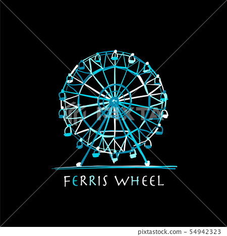 Ferris wheel at night, sketch for your design 54942323