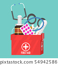 Medical instruments aid kit doctor tools medicament in cartoon style medication hospital health 54942586