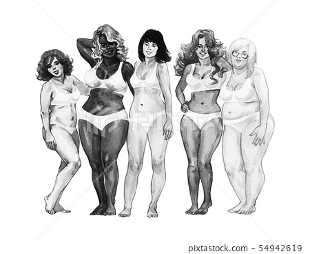 Watercolor body positive women 54942619