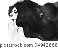 Watercolor fashion portrait 54942868