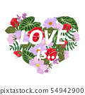 T-shirt print with a heart of flowers and slogan Love is. 54942900