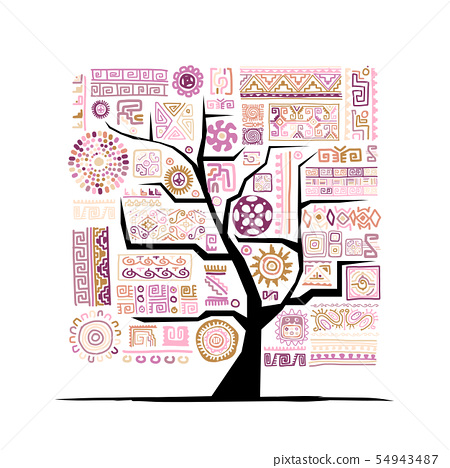 Ethnic tree with handmade ornament for your design 54943487