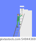Painter with Roller Painting Wall. Worker on Ladder Paints Home. Renovation and Repair Service 54944369