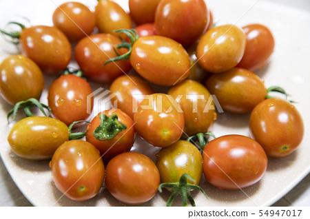 접시에 담겨진 반짝이는 방울 토마토 54947017