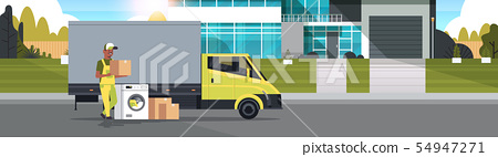 african american courier near delivery truck with cardboard boxes washing machine domestic 54947271