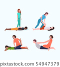 set personal trainers doing stretching exercises with patients fitness instructor helping patient to 54947379