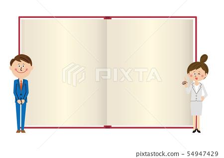 팝적인 정장을 입은 남녀가 책을 다시 설명 2 54947429
