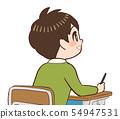 교실 책상 의자 앞을 보는 아이 미소 54947531