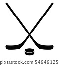 Hockey icon on white background.  Stick And Puck. 54949125