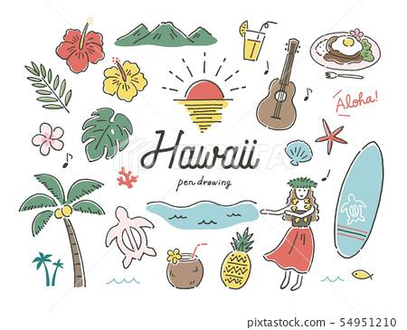 하와이 남국 펜화 컬러 54951210