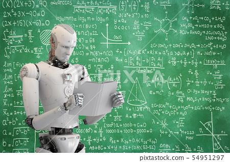 robot reading book 54951297