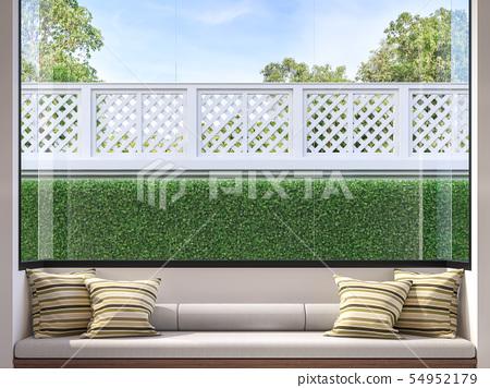 Modern window seat 3d render 54952179