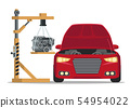 Install Engine Under Hood Red Car. Service Station 54954022