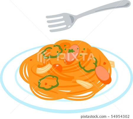 Napolitan意粉和叉子 54954302