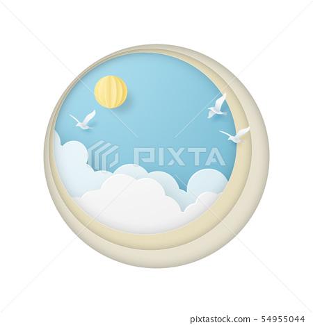 종이 공예 - 하늘 - 구름 - 조류 - 원형 프레임 54955044
