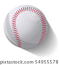 Realistic baseball ball in motion with shadow over white background. Vector illustration 54955578
