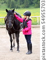 girl and black horse 54955703