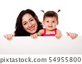 Mother and baby daughter holding white board 54955800
