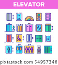 Color Passenger Elevator, Lift Vector Linear Icons Set 54957346