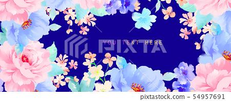 美麗優雅的水彩牡丹花和玫瑰花花卉插畫 54957691