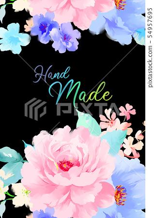 美麗優雅的水彩牡丹花和玫瑰花花卉插畫 54957695