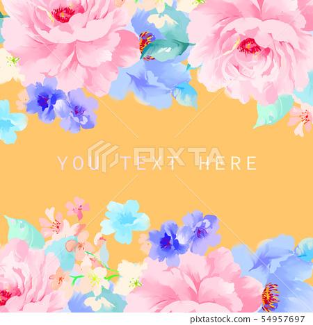 美麗優雅的水彩牡丹花和玫瑰花花卉插畫 54957697