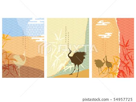 Crane birds with Japanese template vector. Bamboo  54957725