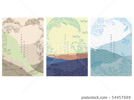 Japanese template with wave pattern vector.  54957899