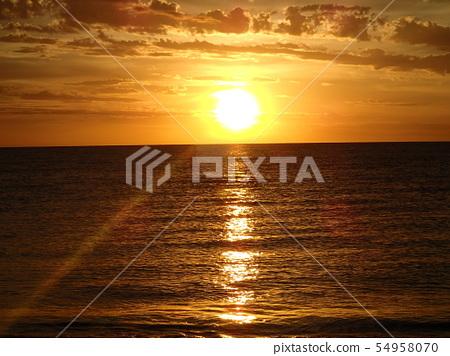 黃色日落海邊 54958070