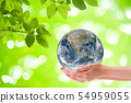 Woman hand holding planet earth globe. 54959055