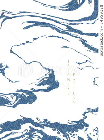 Japanese wave pattern with abstract shape vector.  54959128