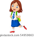 Cartoon school girl in uniform posing 54959663