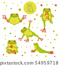 Frog yoga poses and exercises. Cute cartoon 54959718