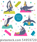 Cockatiel yoga poses and exercises. Cute cartoon 54959720