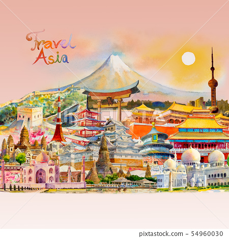 Watercolor painting illustration landmark of Asia. 54960030