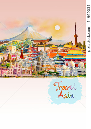 Watercolor painting illustration, landmark of Asia 54960031