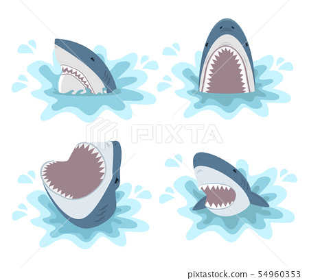 shark with open jaws vector set 54960353