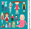 dolls toy character girls and boys human face and body game dress rag-doll illustration. Pretty 54962048