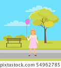 Girl with Balloon in Hands Walk in Green City Park 54962785